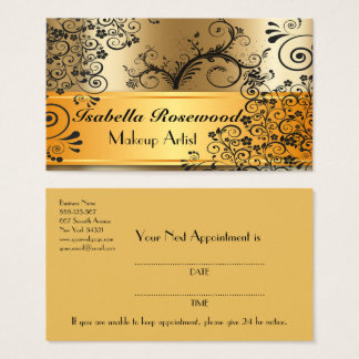 Makeup Artist Gold, Swirly Vines Business Card