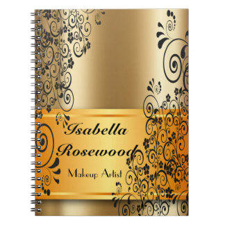 Makeup Artist Gold, Swirly Vines Notebook