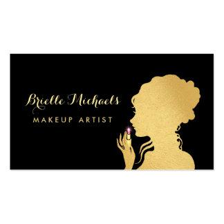 Makeup Artist Gold Woman Pink Glitter Lipstick Pack Of Standard Business Cards