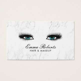 Makeup Artist Hair Salon Blue Eyes Morden Marble Business Card