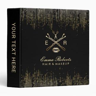 Makeup Artist Hair Salon Modern Gold Sequins Vinyl Binders