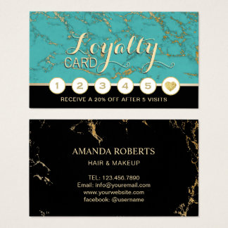 Makeup Artist Hair Salon Turquoise Marble Loyalty Business Card