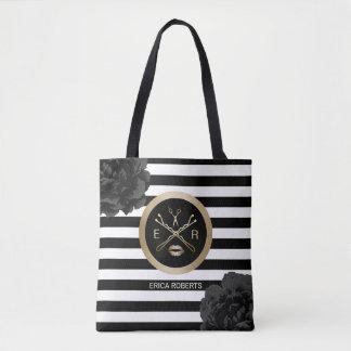 Makeup Artist Hair Stylist Black Floral Stripes Tote Bag