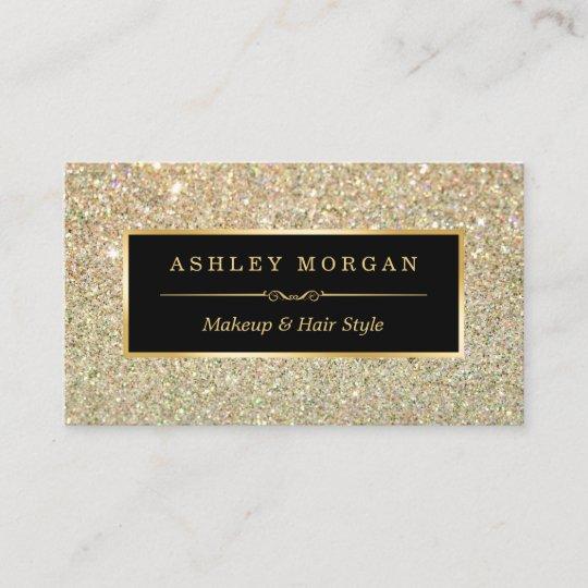 Makeup artist hair stylist funky gold glitter business card zazzle makeup artist hair stylist funky gold glitter business card reheart Image collections