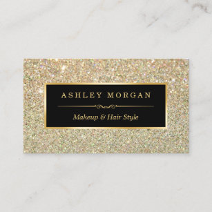 Makeup artist business cards profile cards zazzle ca makeup artist hair stylist funky gold glitter business card reheart Images
