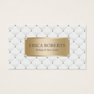 Makeup Artist Hair Stylist Gold Label Luxury Business Card
