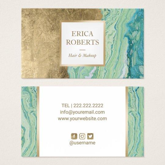 Makeup Artist Hair Stylist Modern Mint & Gold Business Card