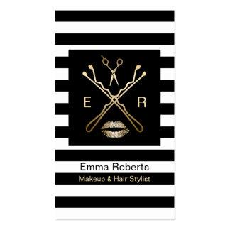 Makeup Artist Hair Stylist Modern Stripes Salon Business Card