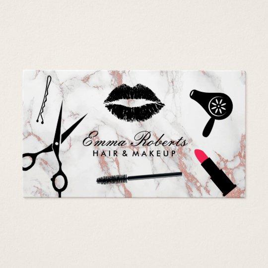 Makeup Artist Hair Stylist Rose Gold Marble Business Card