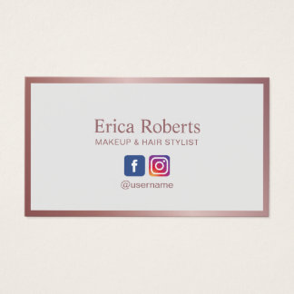 Makeup Artist Hair Stylist Rose Gold Social Media Business Card