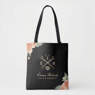Makeup Artist & Hair Stylist Vintage Floral Black Tote Bag