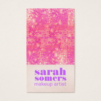 Makeup Artist Hot Pink Girly Sequins Business Card