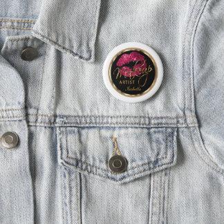Makeup Artist - Hot Pink Glitter On Black & White 2 Inch Round Button