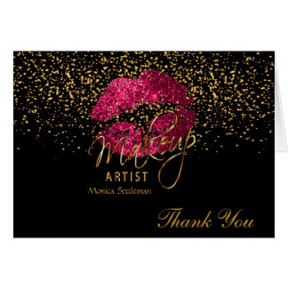 Makeup Artist  Hot Pink Lips on Black Card