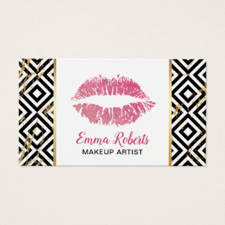 Makeup Artist Hot Pink Lips Trendy Salon Business Card