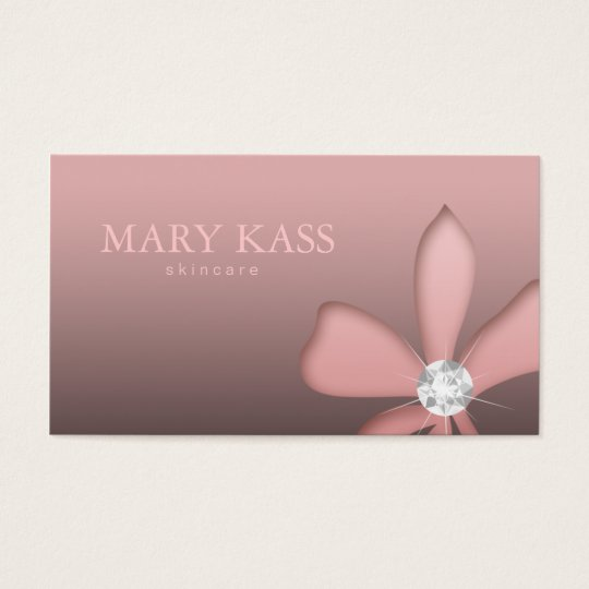 Makeup Artist Jewelry Pink Flower White Diamonds Business Card