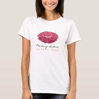 Makeup Artist Kiss Lips Candy Pink Red Glitter T-Shirt