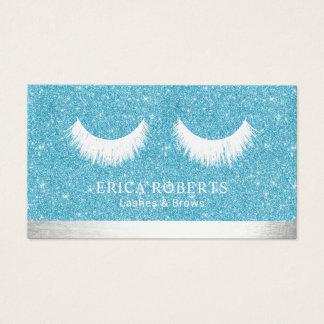 Makeup Artist Lashes & Brow Salon Aqua Glitter Business Card