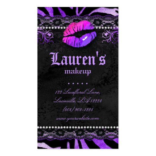 Makeup Artist Lips N Lace Purple Zebra Business Card Template