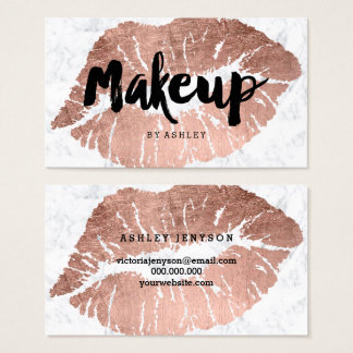Makeup artist lips rose gold typography marble business card