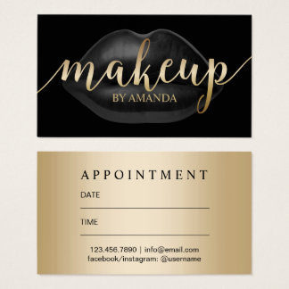 Makeup Artist Luxury Black Lips Salon Appointment Business Card