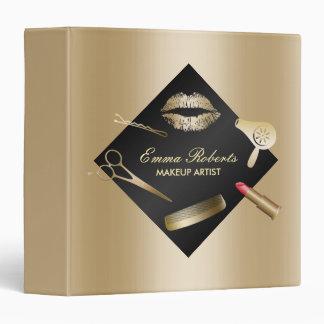 Makeup Artist Modern Black & Gold Beauty Salon Vinyl Binders