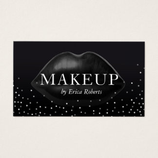 Makeup Artist Modern Black Lips Silver Confetti Business Card