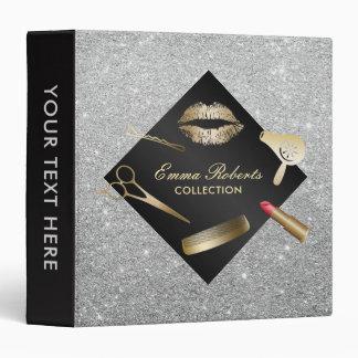 Makeup Artist Modern Black & Silver Beauty Salon Vinyl Binders