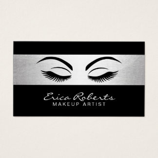 Makeup Artist Modern Black & Silver Salon Business Card