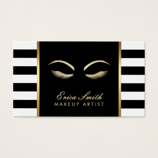 Makeup Artist Modern Black & White Stripes Business Card