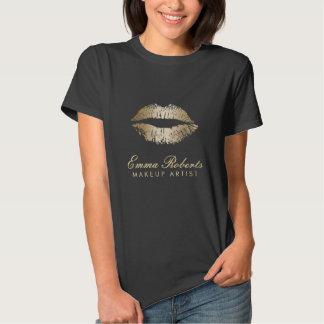 Makeup Artist Modern Gold Lips Dark Tshirt