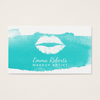 Makeup Artist Modern Lips Elegant Watercolor Business Card