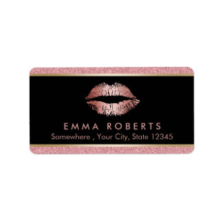 Makeup Artist Modern Rose Gold Glitter Lips Salon Label
