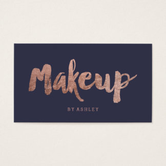 Makeup artist modern rose gold typography blue business card