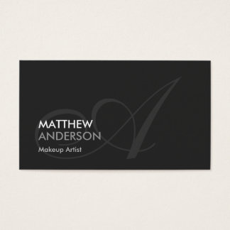 Makeup Artist - Modern Swash Monogram Business Card