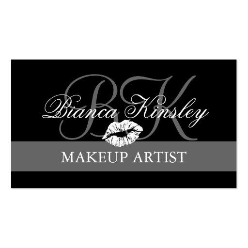 Makeup Artist Monograms Business Cards Black