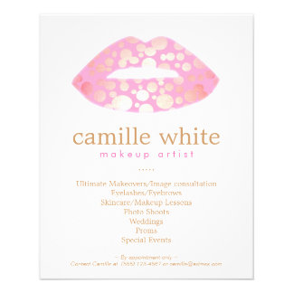 Makeup Artist Pink and Gold Lips Beauty Salon Flyers