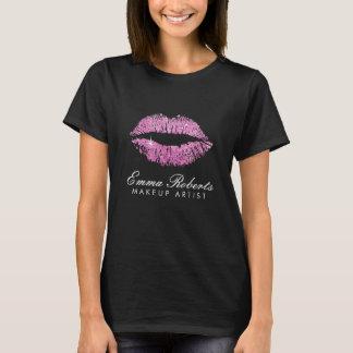 Makeup Artist Pink Glitter Lips Dark T-Shirt