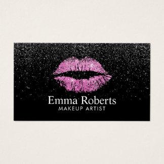 Makeup Artist Pink Lips Modern Black Glitter Salon Business Card