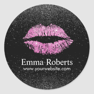 Makeup Artist Pink Lips Modern Black Glitter Salon Round Sticker
