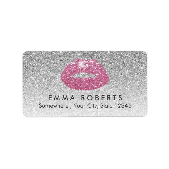 Makeup Artist Pink Lips Modern Silver Glitter