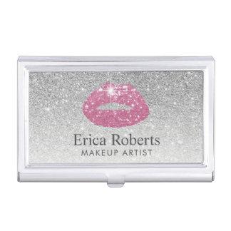 Makeup Artist Pink Lips Modern Silver Glitter Business Card Case