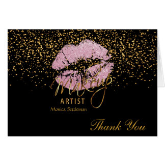 Makeup Artist  Pink Lips on Black Card