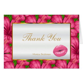 Makeup Artist  Pink Lips on Pink Floral Card