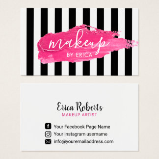 Makeup Artist Pink Lipstick Stain Modern Stripes Business Card