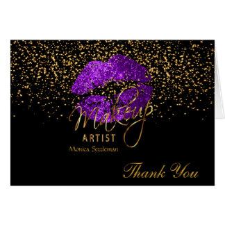 Makeup Artist  Purple Lips on Black Card