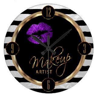 Makeup Artist Purple Lips with White Stripes Wallclock