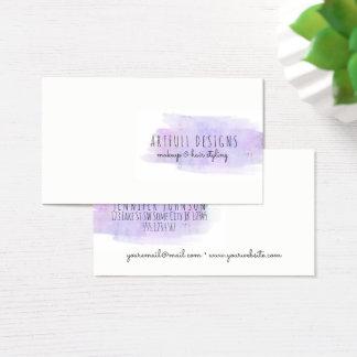 makeup artist purple paint splatter minimalist business card