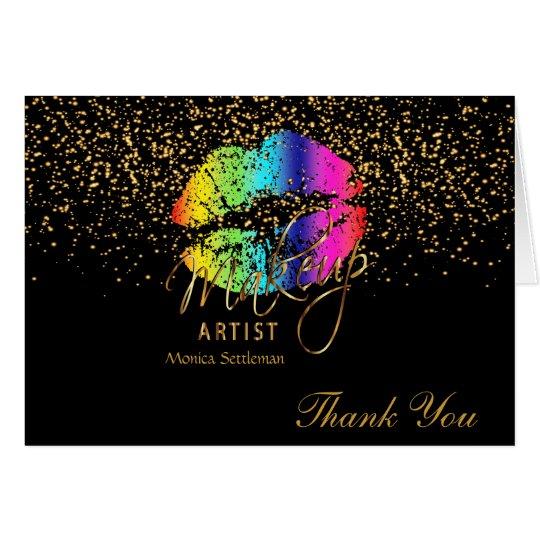 Makeup Artist  Rainbow Lips on Black Card