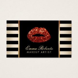 Makeup Artist Red Glitter Lips Gold Stripes Business Card